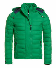 New Mens Superdry Fuji Double Zip Hood Jacket Bright Green