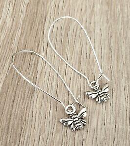 Silver Bee Earrings Long Kidney Wires Bees Statement Present Gift Hook