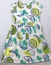 Lands End Kids Size 6X-7 Years White Blue Fruit Print Cotton Short Sleeve Dress