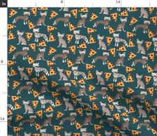 Hairless Dog Kawaii Pizza Food Chinese Crested Fabric Printed by Spoonflower Bty