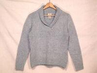 LL Bean soft wool blend blue sweater with 1 button / women's M / VGC / bn32