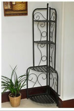 Plant Stand Folding Iron Metal Patio Corner 4 Shelves Garden Bakers Rack Storage