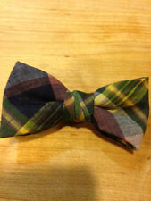 NEW  TODDLER/LITTLE BOYS  BOW TIES GREEN/NAVY MADRAS /MADE IN THE USA