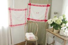 Damask linen napkin SET 11 GP  monogrammed linen towels c1930 white old red