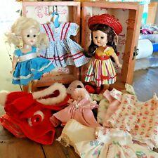 Two Vintage Vogue Ginny Dolls w Case & Cloths Tagged Dress