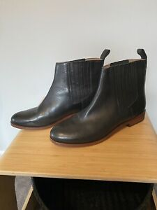 Trenery All Leather Size 38 Flat Black Ankle Boots RRP $229