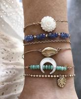 5Pcs/set Boho Gold Bracelets & Bangles For Women Multilayer Crystal Beads Jewelr