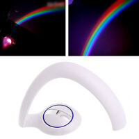 Cute Rainbow LED Colorful Night Projector Light Lamp Nursery Bedroom Decors Gift