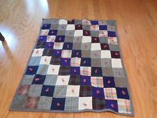 """Vintage Patchwork Blanket Quilt Hand Tied 4"""" Wool Squares Many Patterns 46 x 40"""