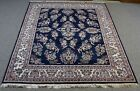Designer Hand Knotted Sapphire Rug Made in India, 100% Wool Pile Bloomingdale