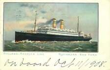 Postcard Holland-America Line Steamship Ocean Liner, Rotterdam, New York 1908