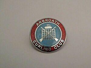 VINTAGE ARBROATH SCOTLAND CURLING CLUB SPORTS PIN ~ L@@K ~