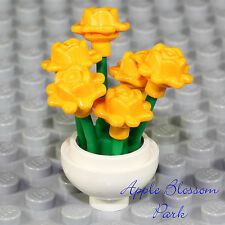 NEW Lego Minifig FLOWER POT w/Yellow Rose Flowers - Girl Friends Garden Display