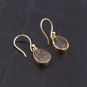 Oval Shape Real Rough Citrine Yellow Gold Electroplated Drop Dangle Earrings