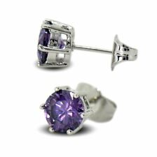 9ct White Gold Filled Womens Stud Earrings Purple 7mm Crystals 9K GF