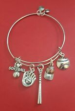 "Silver ""Softball"" themed Charm Bracelet.  (sport, sports)"