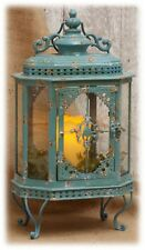 """Rustic Blue Ornate Metal Lantern w/Glass Candle Holder Patio Home Decor 19"""" H"""