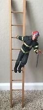"""Vintage Gi Joe 12"""" Firefighter & Ladder Action Figure Complete Good Shape"""
