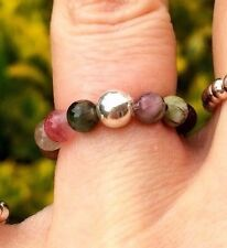 WATERMELON TOURMALINE STRETCH RING STERLING SILVER STACKING CHAKRA BEAD GIFT