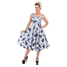 H&R London Hearts and Roses Rosaceae Dress in White 50s Rockabilly Swing Dress