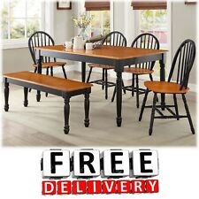 6 Piece Dining Table Chairs Bench Room Furniture Set Wood Modern Contemporary
