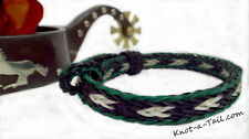 Genuine horse Hair bracelet great Men/womens Hunter green/black Rugged  Beauty