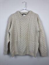 Womans NWT CARRAIG DONN Ivory Irish Fisherman Knit Aran Sweater Size Small  B135