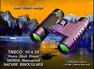 TASCO 10x25 WATERPROOF Trilyte Style Binoculars Limited Lifetime Warranty Case.