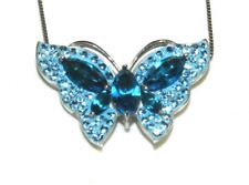 "Silver Aqua Blue Crystal Butterfly Pendant Necklace 18"" Box Chain 925"