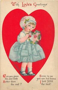 H66/ Valentine's Day Love Holiday Postcard c1910 Pretty Girl Clapsaddle? 20