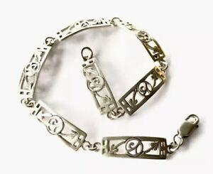 "Vintage Sterling Silver Charles Rennie Mackintosh Style 7.5"" 19.5cm Bracelet"