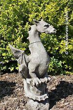 SKULPTUR DRACHEN AUF FELS Halvard  Figur engl.  Steinguss antik GARTENDEKORATION
