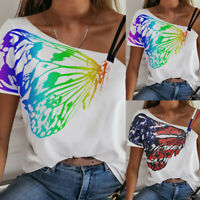 ❤️Womens Off Shoulder Casual Loose T-Shirt Summer Printed Tops Tee Ladies Blouse