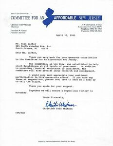 New Jersey Governor Christine Todd Whitman  Typed Letter Signed  with COA