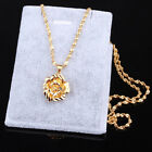 New Fashion Jewelry 24K gold Yellow Filled plated Necklace Flower Pendant Chain