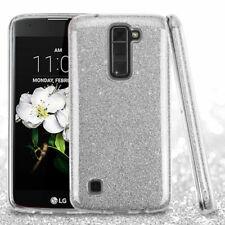 For LG K7 MS330 Tribute 5 LS675 Silver Full Glitter Hybrid Case Cover