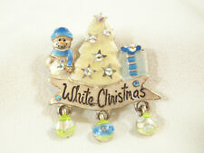 AJMC WHITE CHRISTMAS Brooch Frosty Blue AB Rhinestones Silver Plate Dangles