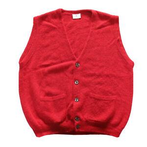 Tumi Mens Vest Cardigan Alpaca Wool Peru Knit Pockets Red Geek Size L