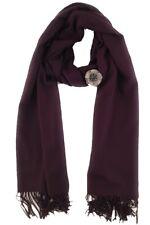 Zelly Purple Pashmina Aubergine Cashmere Mix Plain Wrap Shawl Scarf Pin Gift Bag