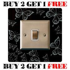 Gloss Black Light Switch Surround Finger Plate, Butterflies - FREE UK POSTAGE