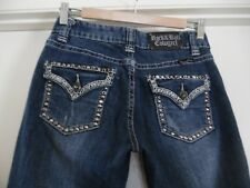 Womens Rock & Roll Cowgirl Distressed Bling Mid Rise Blue Jeans 25 x 34
