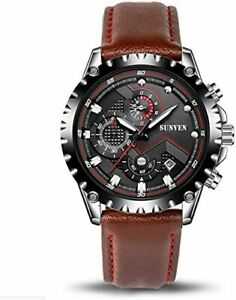 Stainless Steel 30M Waterproof Watch for Men in Gift Box with Chronograph & Date