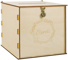 Wooden Wedding Card Box with Security Heart Lock,Rustic Wedding Envelope Box,