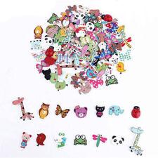50 Pcs 2 Hole Wood Sewing Mixed Animal Buttons Craft Scrapbooking DIY Kids Decor