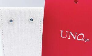 New UNO de 50 Women Silver Tone Ciambella Blue Crystal Stud Earrings