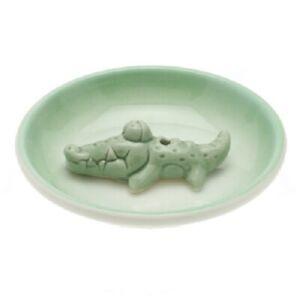 Japanese Stick Incense Burner Stand Holder Plate Dish Ceramic Green Alligator
