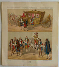 Carrosse  FRANCE XVIIème Chromolithographie originale RACINET 1888