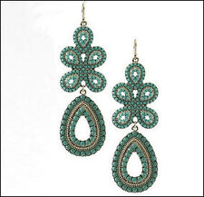 Dangle Fashion Earrings Teal Green Ethnic Vintage Style Beaded Tear