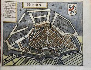 Hoorn Holland Netherlands Canals Ships 1678 Guicciardini detailed city plan