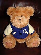 "Chelsea Teddy Bear Company Brown Bear w/ Letter Jacket Plush Beanie Doll 9 1/2"""